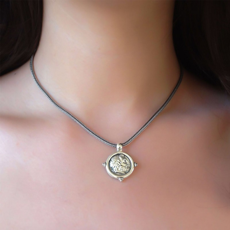sterling silver greek history necklace FREE SHIPPING Knossos necklace Crete ancient necklace greek ancient necklace