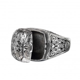 Gerochristo 2968N ~Sterling Silver Medieval Byzantine Filigree Poison Ring