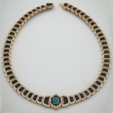 K287 ~ Sterling Silver Medieval-Byzantine Doublet Necklace with Quartz over Chrysocolla