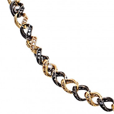 K289 ~ Black and Gold Sterling Silver Chain Necklace with Zircons