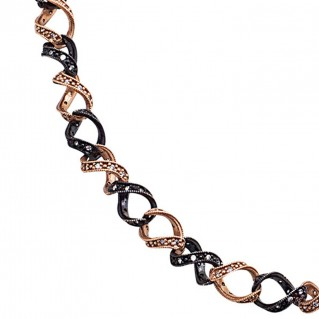K291 ~ Black and Rose Gold Sterling Silver Two-Tone Necklace