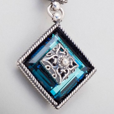M176 ~ Sterling Silver and Swarovski - Medieval Byzantine Pendant Necklace