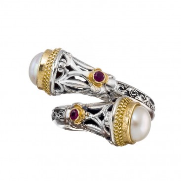 Gerochristo 2961N ~ Solid Gold & Silver Crossover Multi-Stone Ring