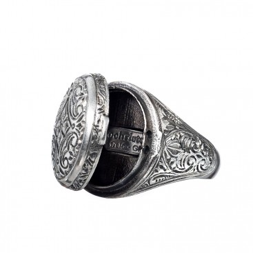 Gerochristo 2967N~Sterling Silver Medieval Byzantine Oval Poison Ring