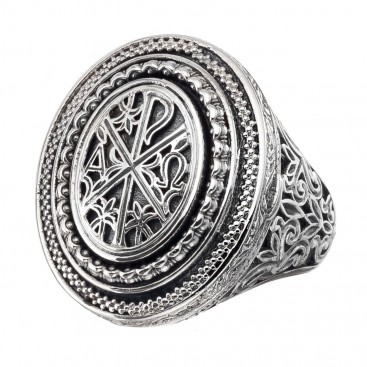 Gerochristo 2970N~ Chi Rho-Chrismon - Sterling Silver Medieval Poison Ring