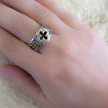 Gerochristo 2974N ~ Solid Gold & Silver Byzantine-Medieval Men's Cross Band Ring