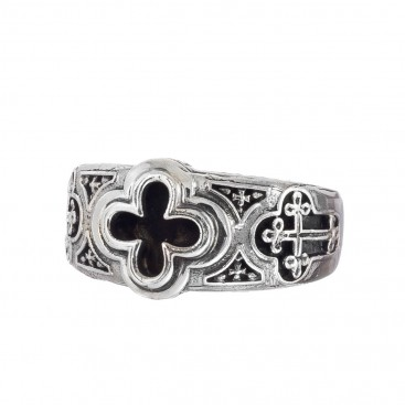 Gerochristo 2975N ~ Sterling Silver Byzantine-Medieval Men's Cross Band Ring