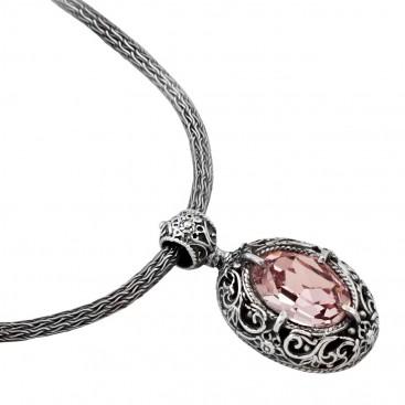M180 ~ Sterling Silver and Swarovski - Medieval Byzantine Pendant Necklace