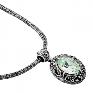 M180 ~ Sterling Silver and Swarovski - Medieval Byzantine Pendant Necklace