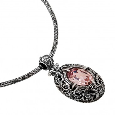 M181 ~ Silver and Swarovski - Medieval Byzantine Pendant Necklace