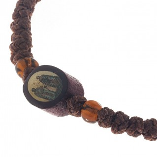 Prayer Rope Bracelet ~ Komboskini ~ Chotki - Brown with Religious Icons