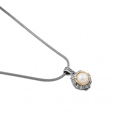 M204 ~ Sterling Silver and Pearl - Medieval Byzantine Pendant Necklace