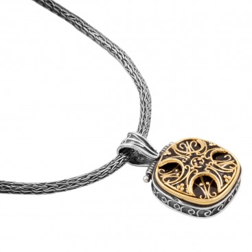 M207 ~ Sterling & Gold Plated Silver - Medieval Byzantine Pendant Necklace