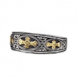 Gerochristo 2977N~ Solid 18K Gold & Sterling Silver Medieval Crosses Band Ring