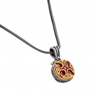 M212 ~ Sterling & Gold Plated Silver - Medieval Byzantine Pendant Necklace