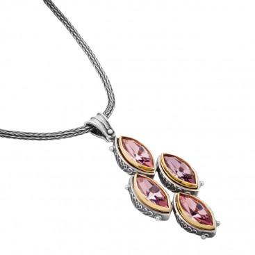 M226 ~ Sterling Silver and Swarovski - Medieval Byzantine Pendant Necklace