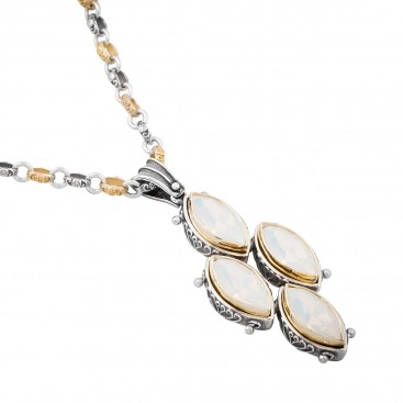 M226-1 ~ Sterling Silver and Swarovski - Medieval Byzantine Pendant Necklace