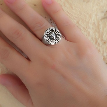 Medusa Head with Meander Bezel ~ Sterling Silver Chevalier Ring