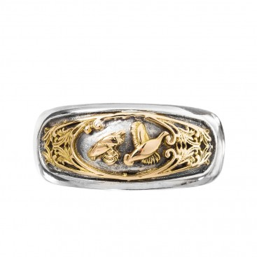 Gerochristo 2953N ~ Solid Gold and Silver Band Ring with Couple of Birds