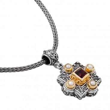 M235 ~ Silver, Swarovski & Gemstones - Medieval Byzantine Pendant Necklace