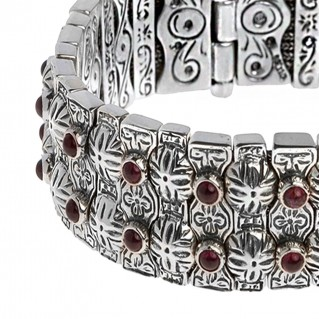 Savati 267 ~ Sterling Silver Byzantine Multi-Stone Soft Bangle Bracelet
