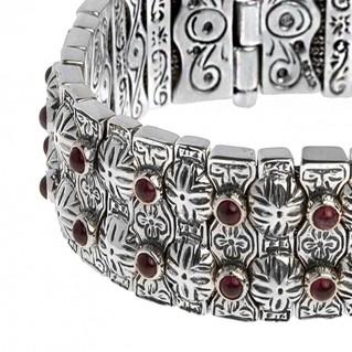Savati 267 ~ Sterling Silver Byzantine Multi-Stone Soft Bangle Bracelet