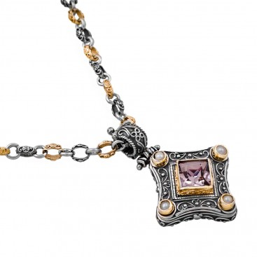 M236 ~ Sterling Silver and Swarovski - Medieval Byzantine Pendant Necklace