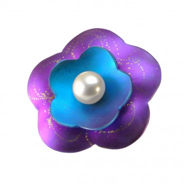 Giampouras 5008 ~ Anodized Colored Titanium Flower Pendant