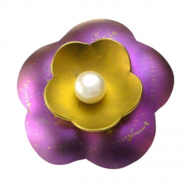 Giampouras 5009 ~ Anodized Colored Titanium Flower Large Pendant