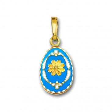 Egg pendant with Rosette flower ~ 14K Solid Gold and Hot Enamel - B/Small