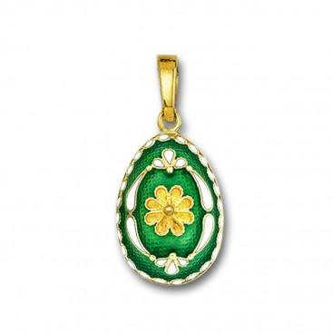 Egg pendant with Rosette flower ~ 14K Solid Gold and Hot Enamel - B/Medium