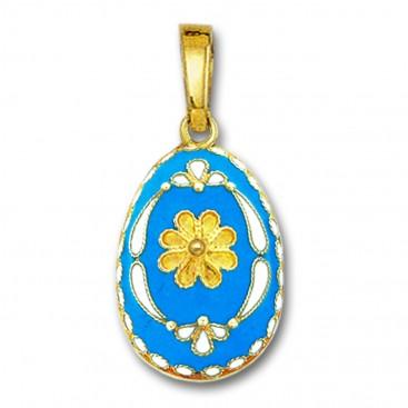 Egg pendant with Rosette flower ~ 14K Solid Gold and Hot Enamel - B/Large