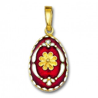 Egg pendant with Rosette flower ~ 14K Solid Gold and Hot Enamel - B/Large