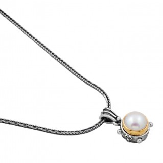 M241 ~ Sterling Silver and Pearl - Medieval Byzantine Pendant Necklace
