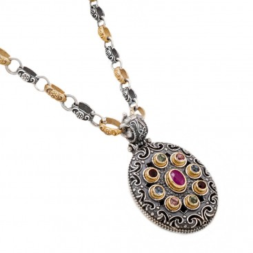 M243 ~ Silver, Ruby and Swarovski - Medieval Byzantine Pendant Necklace