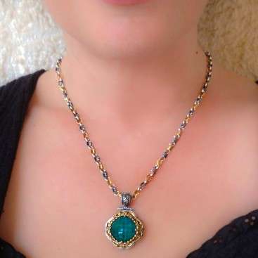 M247 ~ Sterling Silver and Gemstone - Medieval Byzantine Pendant Necklace
