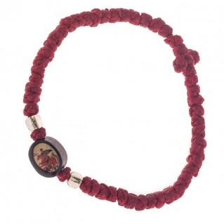 Prayer Rope Bracelet ~ Komboskini ~ Chotki - Red with Religious Icons