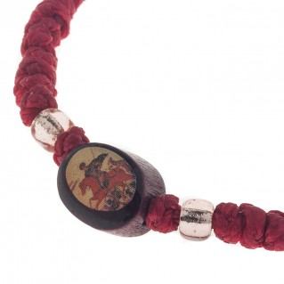 Prayer Rope Bracelet ~ Komboskini ~ Chotki - Red with Religious Icons