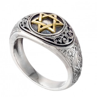 Gerochristo 2988N ~ Solid Gold & Silver Star of David Band Ring