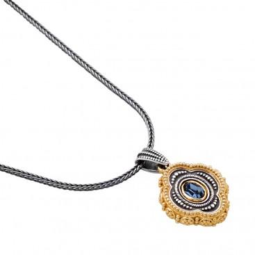 M251 ~ Sterling Silver and Swarovski - Medieval Byzantine Pendant Necklace