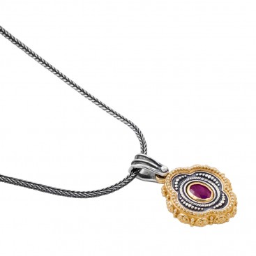 M251 ~ Sterling Silver and Gemstones - Medieval Byzantine Pendant Necklace