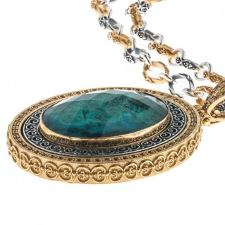 M260 ~ Sterling Silver and Chrysocolla - Medieval Byzantine Pendant Necklace