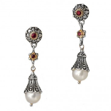 Gerochristo 1282 ~ Solid Gold, Silver, Pearls & Rubies Byzantine Medieval Earrings