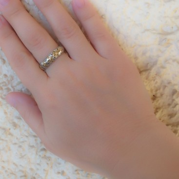Gerochristo 2688 ~ Solid 18K Gold & Sterling Silver Medieval-Byzantine Band Ring