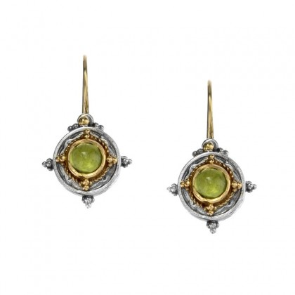 Gerochristo 1010N ~ Solid Gold & Sterling Silver Medieval-Byzantine Drop Earrings