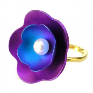 Giampouras 5034 ~ Anodized Colored Titanium Flower Ring