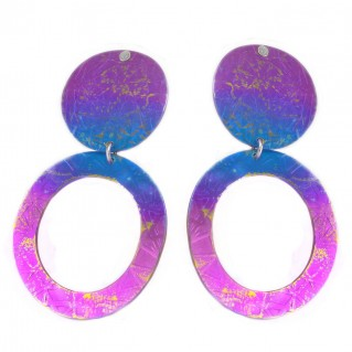 Giampouras 5020 ~ Anodized Colored Titanium Disk Earrings