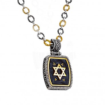 M261 ~ Star of David Pendant Necklace - Sterling Silver with Enamel
