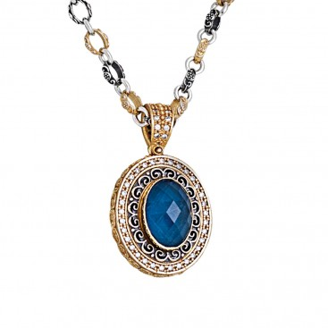 M262 ~ Sterling Silver and Apatite - Medieval Byzantine Pendant Necklace