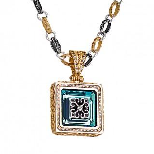 M263 ~ Sterling Silver & Swarovski - Medieval Byzantine Pendant Necklace